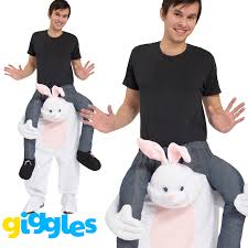 rabbit piggy back ride on me mascot halloween easter bunny