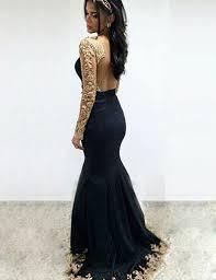 mermaid backless bateau long sleeves black prom dress with