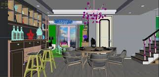 panoramic modern style family living room restaurant 3d model max