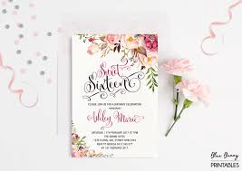Sweet 16 Birthday Invitation Cards Sweet Sixteen Invitation Floral Sweet 16 Birthday Party