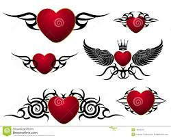 set of loving hearts tattoo design stock vector image 12618213