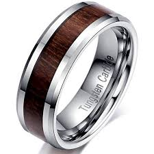carbon wedding band 6mm tungsten carbide wedding ring brown wood inlay engagement