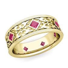 ruby bands rings images Celtic wedding band for men in 14k gold princess cut ruby ring jpg