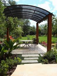 Free Standing Patio Cover Ideas Freestanding Patio Covered With Curved Fabrics Shades Patio