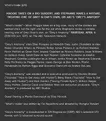 Anatomy Channel Press Release Grey U0027s Anatomy 1319