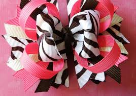 boutique bows large brown zebra and hot pink boutique hair bow