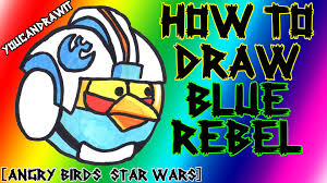 how to draw blue rebel pilot bird from angry birds star wars