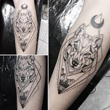 geometric wolf with moon forearm designs