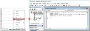 how to disable the right click menu in specified worksheet or