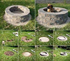 Make Your Own Firepit Outdoor Pit Build Your Own Lays A Wooden Frame In
