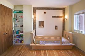 Contemporary Wall Units Bedroom Kid Beds With Striped Bedding And Mid Century Modern Wall