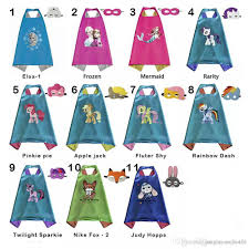 double side kids superhero cartoon cute capes and masks elsa