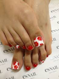i might do red with white flowers that way the toes would be