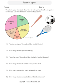 grade 6 pie and circle graph worksheets with sixth grade math