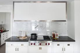 square white marble tile kitchen backsplash contemporary kitchen