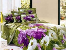 Purple Coverlets Purple Green Flower Floral Bedding Comforter Set Queen Size