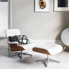 White Chair With Ottoman Buy Vitra Lch Eames Lounge Chair Ottoman Snow Amara