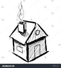 cute little house smoke sketch vector stock vector 96622807