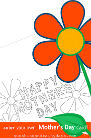 happy mother u0027s day free printable card to color sunshine and