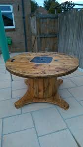 outdoor tables made out of wooden wire spools electrical cable drum that i turned into a garden table all thanks