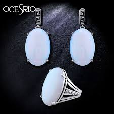 opal stones rings images Ocesrio vintage white opal jewelry set women opal stone ring big jpg