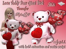 valentines day stuffed animals second marketplace teddy pink mesh with