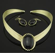 aliexpress crystal necklace images Fashion artificial black stone jewelry sets wedding gold crystal jpg