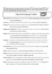 worksheet figurative language toolbox