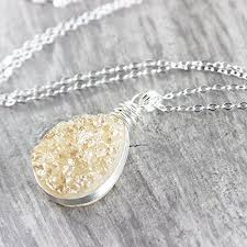 silver necklace images Champagne teardrop druzy sterling silver necklace 18 jpg