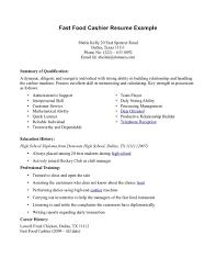 resume exles for fast food fast food restaurant cashier resume sle resume format