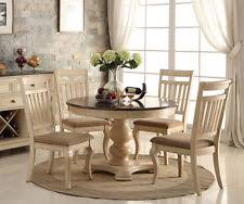 White Round Dining Table Set - Round pedestal dining table in antique white