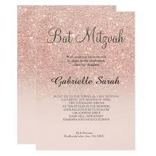 bas mitzvah invitations gold faux glitter pink ombre bat mitzvah card zazzle