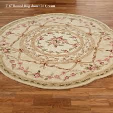 Cream Round Rug Leila Rose Sculpted Aubusson Floral Round Rugs