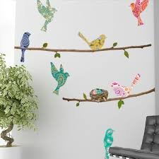 paisley birds branches bird wall decals wallsneedlove paisley birds branches white background