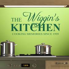 personalised kitchen wall stickers decals forest green personalised kitchen wall decal above a hob