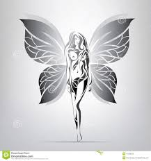 vector silhouette of a with butterfly wings in the ornament