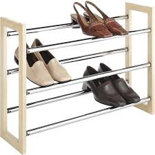 amazon com whitmor wood u0026 chrome shoe rack natural expandable