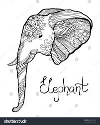 elephant head hand drawn tangled illustration stock vector