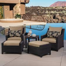 Patio Chair With Ottoman Set Delano 5 Piece Outdoor Chair And Ottoman With Side Table Set