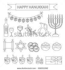 dreidel lights hanukkah set black silhouette icons chanukah stock vector