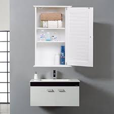 Bathroom Wall Shelves Yaheetech White Wood Bathroom Wall Mount Cabinet