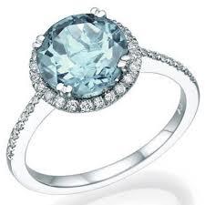 round cut aquamarine halo engagement ring 14k white gold art deco