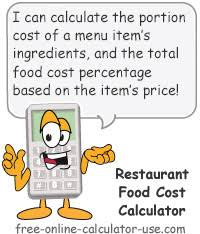 Restaurant Food Cost Spreadsheet Restaurant Food Cost Calculator For Portion And Menu Costing