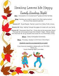 thanksgiving letter to parents reading night sibley ocheyedan community district