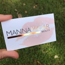 rose gold foil business cards perfect for makeup artist