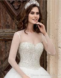 cheap tulle gown long train long sleeve wedding dresses iullsion