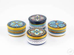 italian favors italian ceramics small cylindrical keepsake box deruta italian