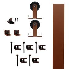 Interior Barn Door Hardware Home Depot by Quiet Glide Top Mount New Age Rust Rolling Barn Door Hardware Kit
