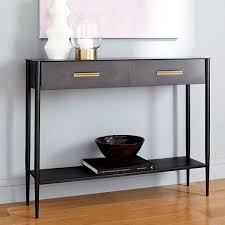 west elm entry table metalwork console rolled steel finish west elm au