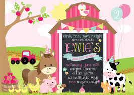 printable girly farm birthday invitation farm animal barnyard theme